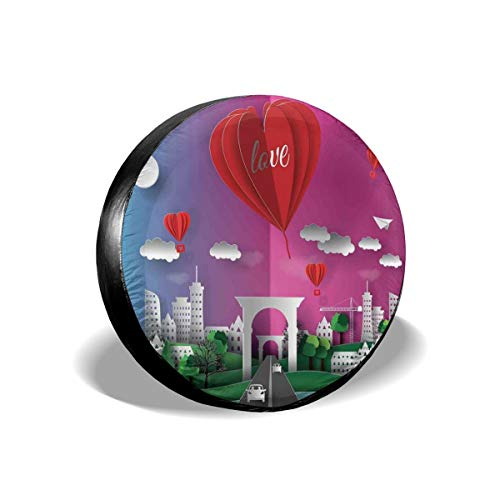 Usicapwear Tire Cover Tire Cover Wheel Covers,3D Style Multi Layer Effect Illustration Print of City Gate and Hot Air Balloons,for SUV Truck Camper Travel Trailer Accessories 15 inch -
