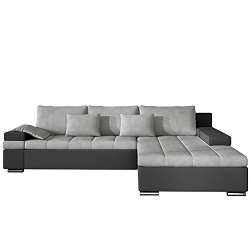 OUTLET !! Design Ecksofa Bangkok, Eckcouch mit Bettkasten und Schlaffunktion, Ecksofa für Wohnzimmer, L-Form Couch, Wohnlandschaft (Soft 020 + Luksor 2789, Ecksofa: Rechts)
