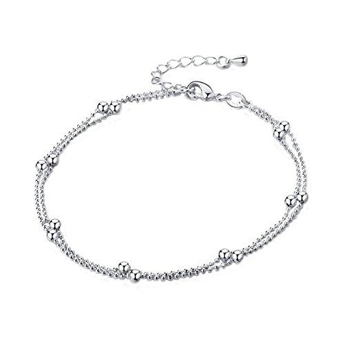 Xuxuou Damen Fußkettchen Doppelkette Runde Perlen Anhänger Fußkette Verstellbar Charm Knöchel Armband fußkette für Damen Schmuck mit Geschenk,Silber -