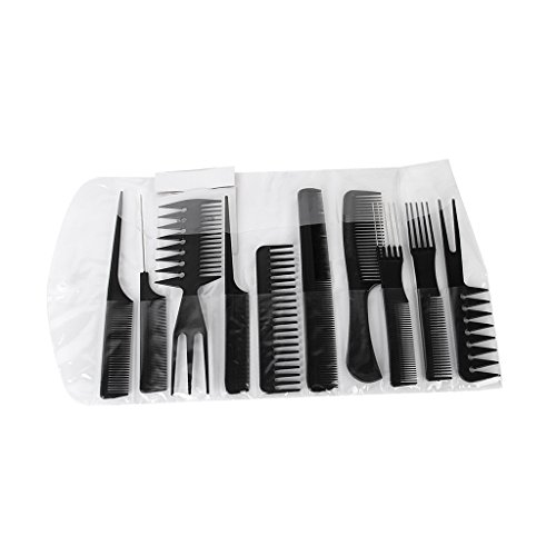 Generic Salon Hair Styling Comb Set, Black (Set of 10)-13007858MG