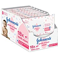 JOHNSON'S Gentle All Over Wipes – 1008 ct (56x18) – Enriched with Silk Extract – pH Balanced for Delicate Skin