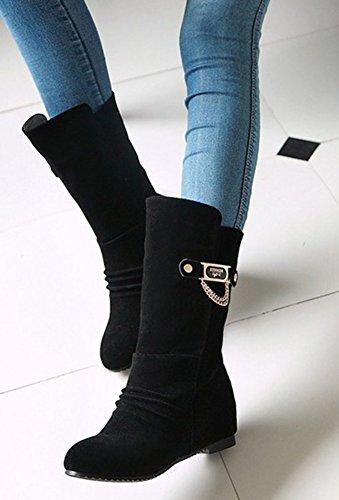 Aisun Femme Confort Métal Tige Moyenne Bottes Noir