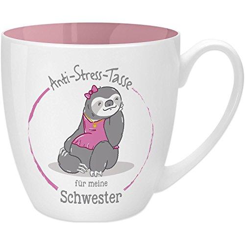 Gruss und Co 45507 Anti-Stress Tasse für die Schwester, 45 cl, Geschenk, New Bone China, Rosa, 9.5 cm