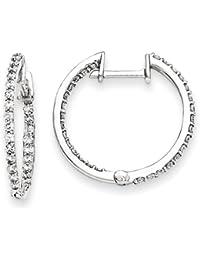 14k White Gold Diamond Hoop Earring by UKGems