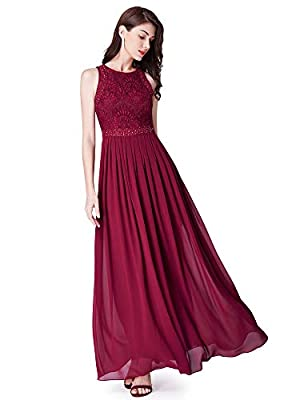 Ever Pretty Women's Sleeveless Lace High Collar Long Ball Gown A Line Formal Evening Bridesmaid Dresses 07391
