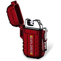 BOLLAER Outdoors Rechargeable Lighter, Innovative Flameless Plasma Lighter, Flameless Windproof Lighter for Camping Hiking Adventure, Outdoor Survival Enthusiast Best Gift (Red)