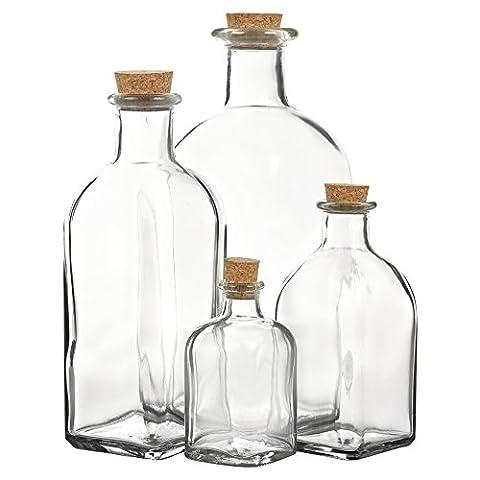 Glass Storage Bottle Jars Vials with Cork Stopper Lid - Sets of 3 or 6
