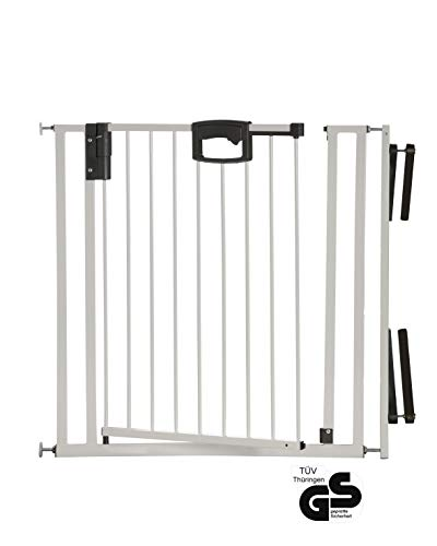 Geuther - Treppenschutzgitter ohne Bohren Easylock 4793+, für Kinder oder Hunde, zum klemmen, Metall, 84,5 - 92,5 cm, weiß/silber