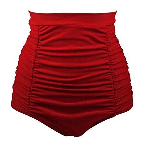 Bikini-Sets,Honestyi Basic Einfache Einfarbig Serie Damen/Mädchen Bikini Baden Strand Bademode Vintage 50s Hohe Taille StämmeShorts Hosen Badeshorts Unterwäsche große größenS-XXXL (S, Rot)