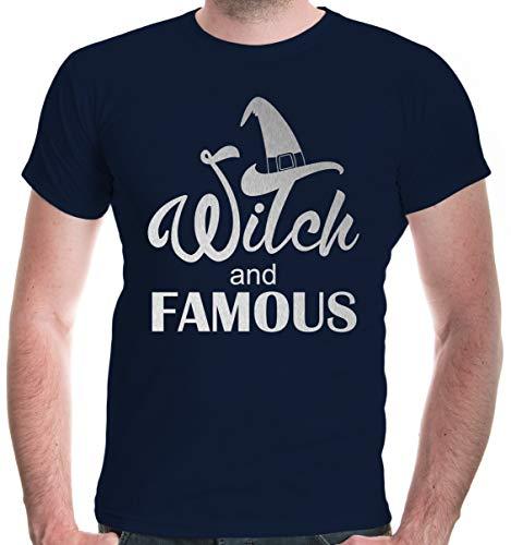 buXsbaum® Herren T-Shirt Witch and Famous   Spruch Halloween   S, Blau