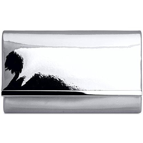 CASPAR TA378 Donna Pochette in Vernice con Catena, Colore:argento;Dimensioni:Taglia unica
