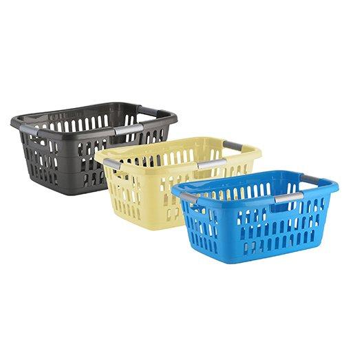 axentia Wäschekorb Plastik, stapelbar - Wäschesammler eckig - Wäschewanne Kunststoff - Wäschekisten stapelbar in Weiß oder Blau - Wäschetragekorb klein, 25 l