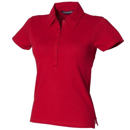 Skinni Fit Damen Polo Shirt Stretch Schwarz