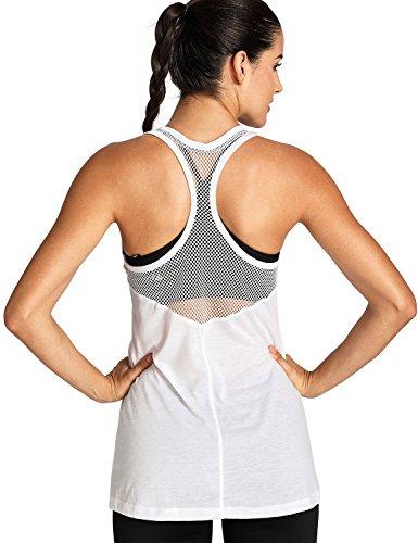 Meliwoo Damen Stylische Tank Tops für Fitness und Freizeit - Coole und Moderne Weiß