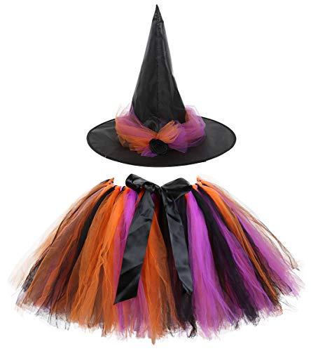 Kiniris Kostüm Halloween Hexe Tutu Kind Mädchen/Damen Rock Tüll Bunte Fliege Kostüm Mit Kapuze Schwarz Cosplay (Schwarz, 2-3 - Kleine Mädchen Tutu Schwarz Kostüm