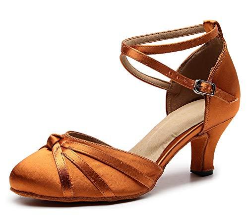 MINITOO Damen Latin Salsa Ankle Strap Bronze Satin Tanzschuhe Hochzeit Prom Pumps EU 40.5 -