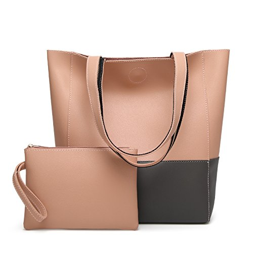 GUANGMING77 Borsa _ Benna Sacco Cuciture Colore Tote Bag Hit Dice Madre Bag,Marrone Grey Pink