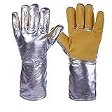 XJZxX Aluminiumfolie feuerfeste Handschuhe, Flexible Vollfinger-Wärmeschutzhandschuhe, feuerfeste Schutzhandschuhe für die St