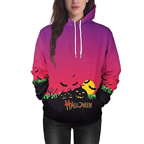 ABsoar Kapuzenpullover Frauen Sweatshirt Halloween Pullover 3D Druck Kürbisse Langarm Hoodie Sweatshirt Sport Shirt Bluse