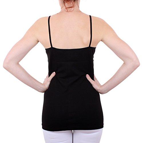 2er Pack Damen Hemd mit Spitze mit Spaghettiträger Nr. 356 Feinripp - Sehr gute Qualität ( Rot/Schwarz / 56/58 ) - 7