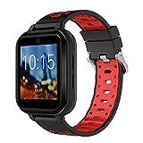 xinxinyu Smart Watch Android 6.0 4G Llamadas telefónicas 1G RAM 8G ROM GPS WiFi IP67 Waterproof Fitness Tracker Reloj de Pulsera Deportivo para Hombre y Mujer, Rojo