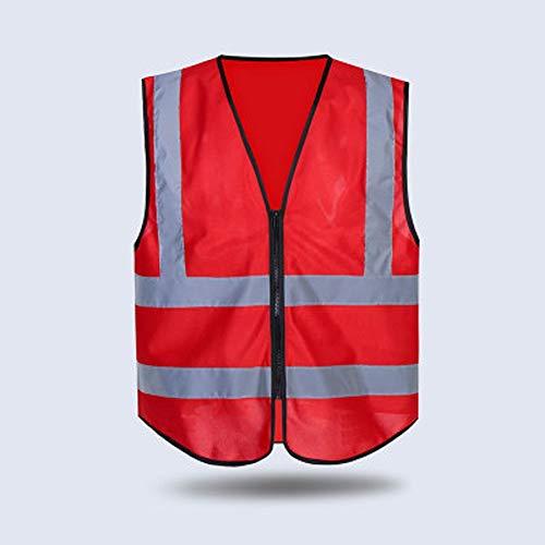 RMJAI Hohe Sichtschutzwesten, einstellbare Größe, leichtes Mesh-Gewebe, reflektierende Großhandelsweste für Arbeiten im Freien, passt für Männer und Frauen (Farbe : Rot) - Rot-gewebe Freien Im