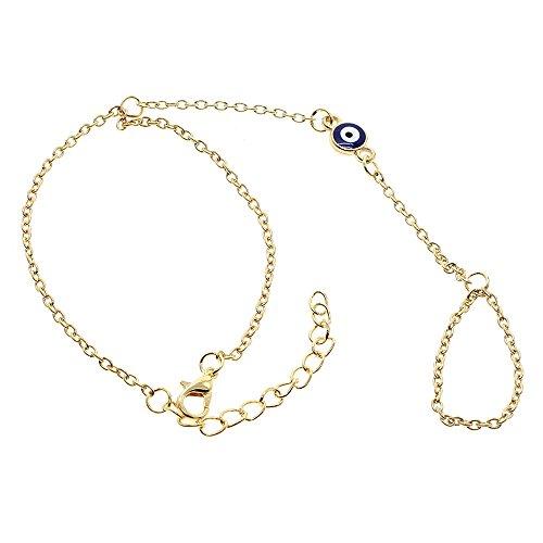 HuntGold 1X Frauen Schmuck Blaues Auge Bead Goldenes Armband Finger Ring Handhandgelenk Anhänger