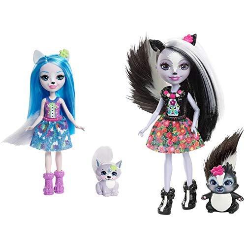Enchantimals FRH40 - Wolfsmädchen Winsley Wolf Puppe &  Mattel DYC75 - Stinktiermädchen Sage Skunk, Puppe