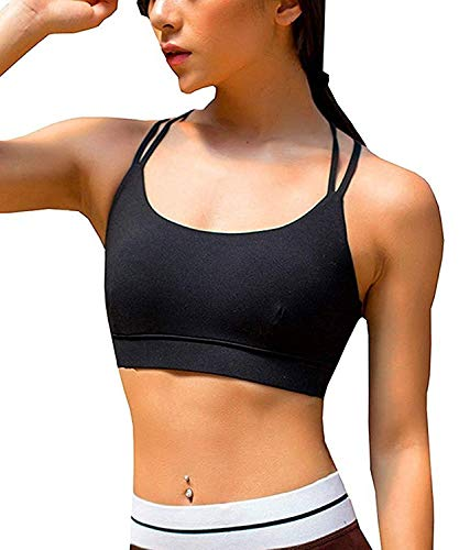 b1ccc33c1cc06 YIANNA Womens Sports Bra Padded Elastic Breathable Wireless High ...