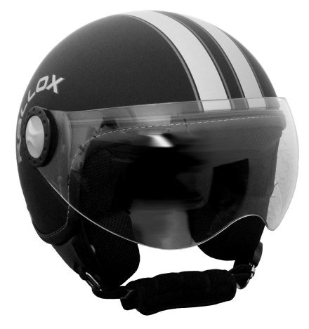 Jethelm Helm Motorradhelm Rollerhelm RETRO RALLOX H730 schwarz/matt (S, M, L, XL, XXL) Größe: L