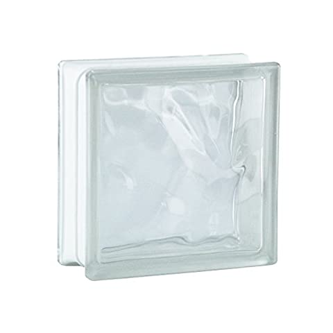 6 Pieces BM Glass Blocks Wave SUPER White 19x19x8 cm