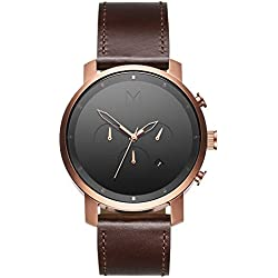 MVMT Herren Watch Uhr Chronograph Rose Gold/Brown Leder Armband