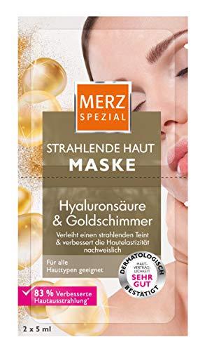 Merz Spezial Strahlende Haut Maske - Gesichtsmaske mit Goldschimmer, Panthenol, Vitamin E & Hyaluronsäure - Für einen strahlend-frischen Teint - 1 x 10 ml
