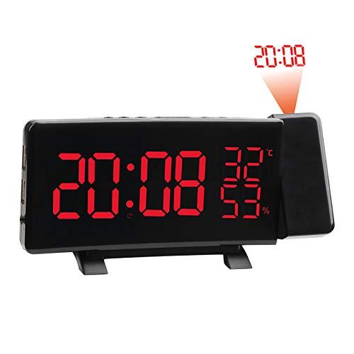 Preisvergleich Produktbild Multifunktionswecker LED Digitale Elektronische Projektionsuhr Mit Zeitprojektion mit UKW-Radiofunktion (rot, )