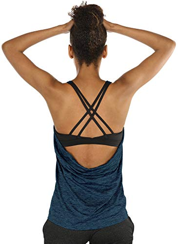 icyzone Damen Sport Yoga Top mit BH - 2 in 1 Fitness Shirt Cross Back BH Training Tanktop (M, Royal Blue)