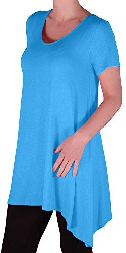 EyeCatch Oversize - Haut long asymétrique manches courtes grandes tailles - Geneva - Femme - Taille UK14 /28 Turquoise