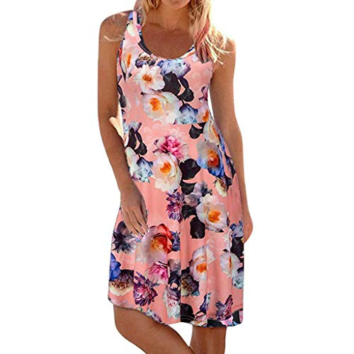 TPulling Damen Röcke Faltenrock Bedruckte Minikleid  Freizeit ärmellos Bedruckt über Dem Knie Strampler Strand Maxi-Kleid -