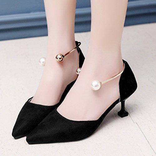 RUGAI-UE Estate High-Heeled appuntita cava scarpe sandali perla Calzature Donna Black