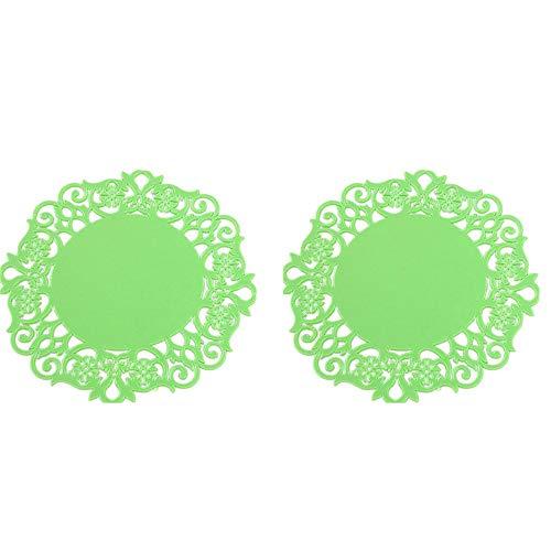 Pondkoo 2 Stück Spitzen-Blumen-Deckchen Silikon Getränke-Untersetzer Becherkissen Halter Platzset Tisch-Dekoration für Tee, Kaffee, Bier, Weinglas, Zuhause, Bar, Esstisch-Zubehör grün -