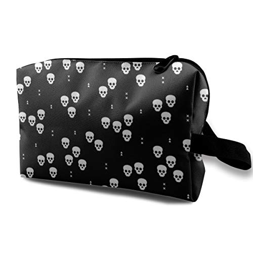 Makeup Bag Portable Travel Cosmetic Bag Minimal Geometric Skulls and Arrows Halloween Horror Print Gender Neutral Monochrome Black and White Mini Makeup Pouch for Women Girls