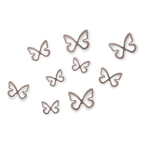 Umbra 1008100-480 Flitterbye Wall Decor, Wanddekoration Schmetterling aus Kunststoff, Set von 8, Zinn