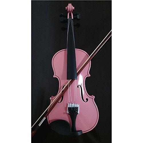 Akustische Violine für Studenten, 1/8,Fichte, Ahorn, mit Koffer, Bogen aus Kolophonium, rosa