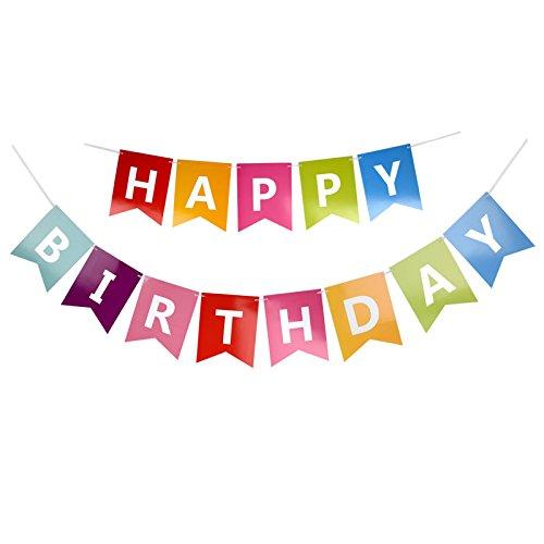 jijAcraft Guirlandes à fanions colorés « Happy Birthday » pour fête d'anniversaire