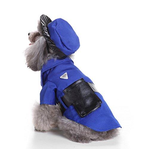 zunea Halloween kleine Hunde Katze Polizei Kostüm mit Hut, Puppy Cosplay Uniform Funny Cute Pet Verkleidungen Kleidung Outfits Apparel (Polizei Katze Kostüm)