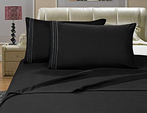 Elegance Linen Bettwäsche-Set, knitterfest, Fadenzahl 1500, seidig weich, luxuriös, 4 Stück, Tiefe Taschen, bis 40,6 cm, Schwarz -