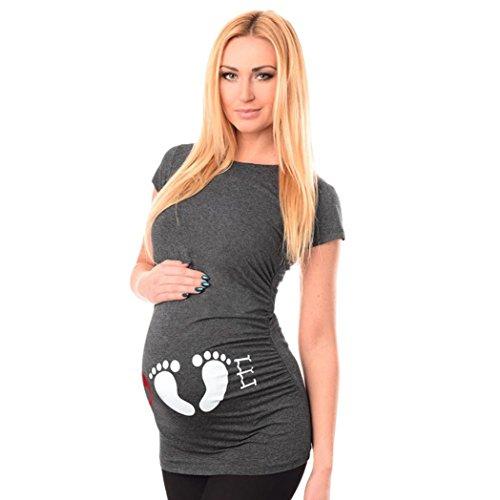 URSING_Damen Umstandsmode Mode Drucken Mutterschaft Kurzarm T-Shirt Kurzarmshirts Umstandsshirt Umstands-Oberteil Umstandskleidung Maternity Bluse Schwangerschaft Tops Unterhemd (S, Grau)