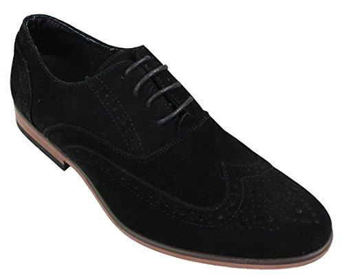 Mens en cuir suédé Derbies Elégant Bébé Bleu Marine Noir Chaussures à lacets Noir