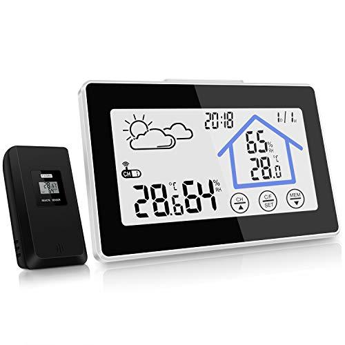 kungfuren Wetterstation, Digitale Funkwetterstation weißes Backlight-Display mit Indoor-Außenthermometer Hygrometer-Sensor, Wetterstation Uhr,Datumsanzeige,Alarm-Funktion