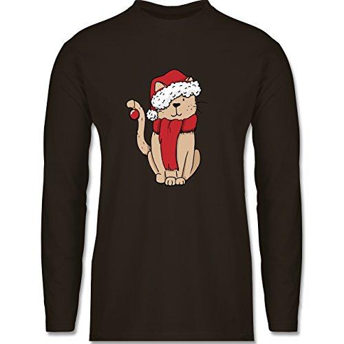 Weihnachten & Silvester - Weihnachts-Katze - Longsleeve / langärmeliges T-Shirt für Herren Braun