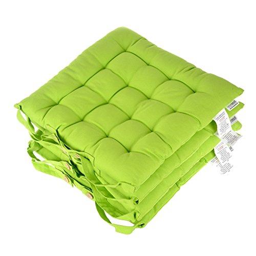 Homescapes Stuhlkissen 40x40 cm 4er Set grün Stuhlauflage mit Bändern und Knopfverschluss Bezug 100% Baumwolle mit Polyester Füllung